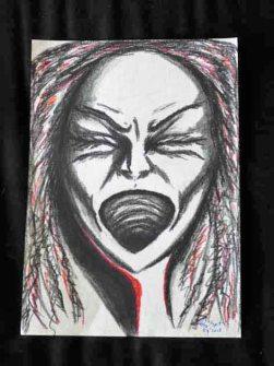 Rage, charcoal and chalk pastel, Una Verdandi 2015