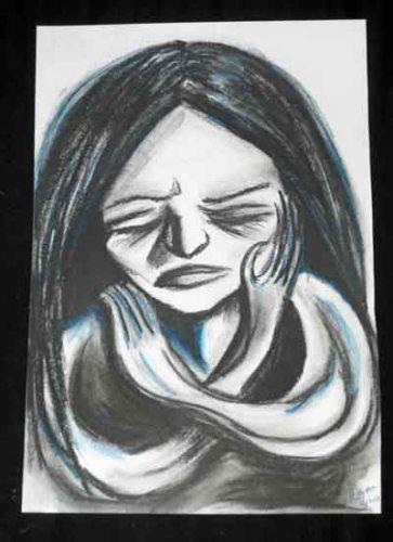 Sadness, charcoal and chalk pastel, Una Verdandi 2015