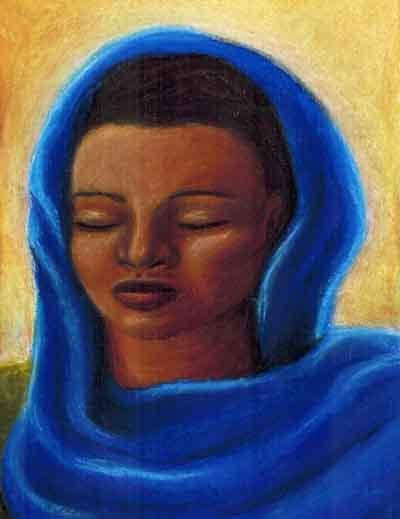 Veiled Woman, chalk pastel, Una Verdandi, c. 2004