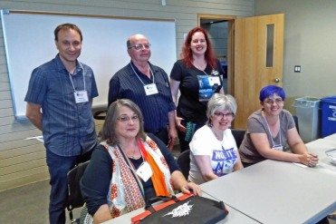 Disability in fiction. Back, L-R: Rob Brunet, Dominic Bercier, Jennifer Carole Lewis. Front, L-R: Laura Baumbach, Cait Gordon, Pat Flewweling.