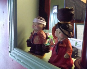 Adorable little statues of Koreans in traditional hanbok at Eunice Sushi.