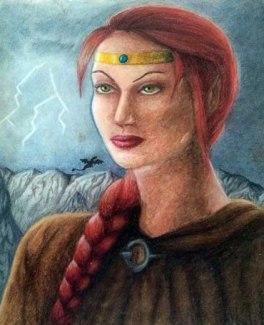 A throwback to my D&D days. Iyntara Chalk pastel Copyright Una Verdandi, 2003