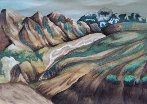Landmannalaugar (the Icelandic highlands), Watercolour painting on artists paperUna Verdandi, 2017