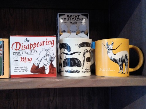 Fun mugs at Minotaur Games and Gifts. Love that Dali Llama.