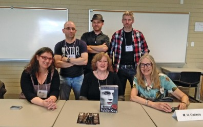 Psychological horror. Back, L-R: Evan May, Sean Moreland, James K. Moran. Front, L-R: me, Nancy Kilpatrick, M.H. Callway.