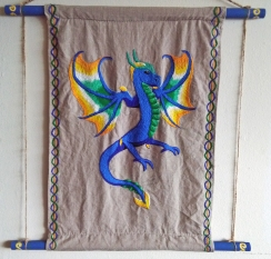 Blue Dragon. (Embroidered wallhanging)