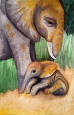 Mother and Child, (watercolour painting on 140lb paper), Una Verdandi, 2017