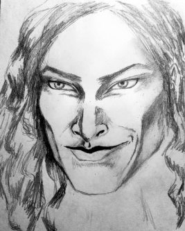 Loki, the black wolf of Asgard. graphite