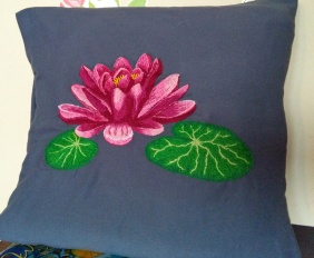 Waterlily, Embroidered pillow