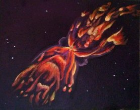 Butterfly Nebula, acrylic paint on canvasboardUna Verdandi, 2017