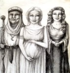 Three Incarnations of The Goddess (graphite) Una Verdandi, undated