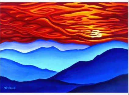Photographic print of an abstract landscape of a sunset over a mountain range.