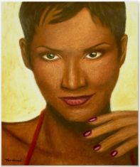 chalk pastel portrait of Halle Berry
