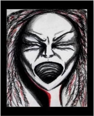 Pastel and charcoal sketch of a woman screaming in anger.