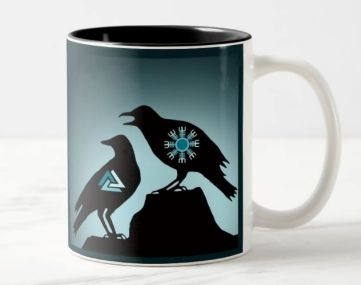 Image of a mug showing a silhouette of two ravens and the Viking symbols Valknut and Aegisjalmur.r